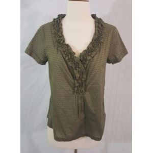 Talbots Petites Brown Polka Dot Blouse 6P New